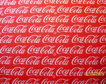 Licensed Red and White Coca-Cola cotton fabric