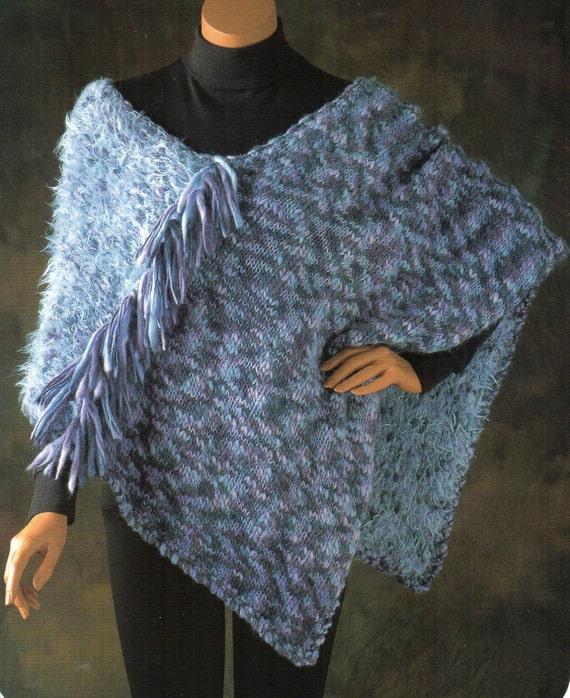 Shaggy Fringe Cape Poncho Knitting Pattern Womens Neoclassic