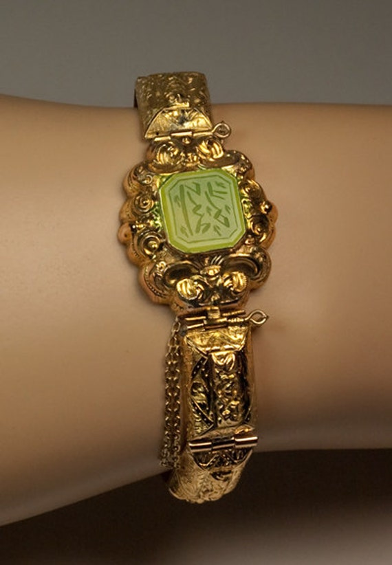 Antique Islamic Jade Gold Bracelet Georgian Jewelry