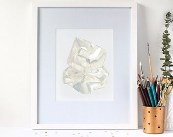 Fine Art Print - Watercolour Diamond Gemstone
