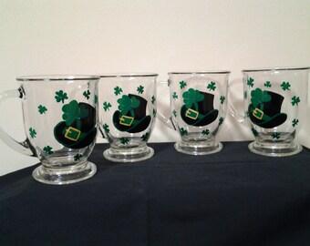 Hand-Painted Irish Mugs, Set of 4