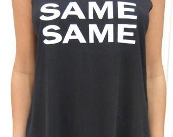 Same Same But Different Unique Double Print Black Festival Womans Vest Top