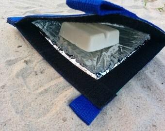 G CHAVA Sailcloth Surf Wax Bag - Blue  Black and White