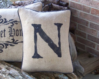 Hand stenciled  initial   burlap pillow