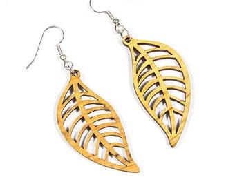 Wood Leaf Earrings, Sustainable Wood Earrings