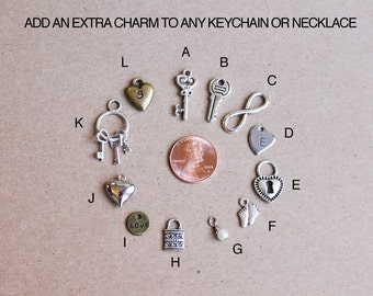 Add an extra charm, or charms, to any keychain or necklace.