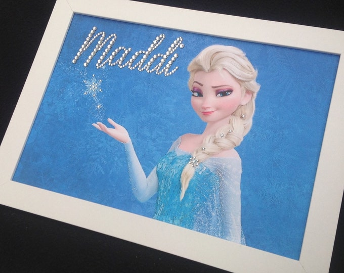 Crystal Elsa frozen personalised framed custom prints, Size A4 Childrens bedroom, Nursery, Birthday, Sparkle, any character available