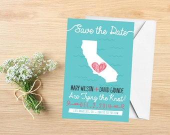 State Save the Date, Save the Date, Destination Wedding, Wedding Invitation, California, Stationery, State Map, California Save the Date