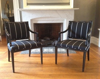 Black and White Striped Arm Chairs with Back Diamond Detail