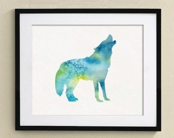 Wolf Watercolor Painting Wall Art Wall Decor Art Home Decor Wall Hanging