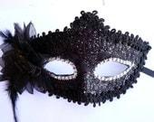 Black Venetian Masquerade Lace Women Diamond Flower Mask for Party, Prom,Mardi Gras SQ005-black