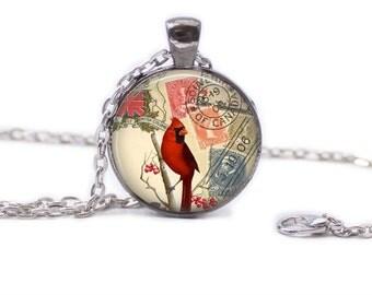 Cardinal Jewelry Cardinal Necklace Cardinal on Postcard Necklace