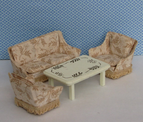 Retro Living Room Furniture Sets: Doll House Vintage Living Room Set 1970s Couch Chairs Table