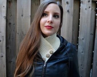 Extra Warm Thermal Crochet Cream Button Collar