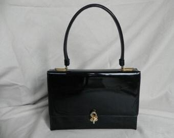 1950's Black Patent Leather Handbag by Lewis, Excellent Condition!
