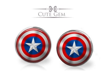 SUPER SALE - Captain America's Shield ( Marvel Super Heroes ) - Silver Glass Stud Earrings