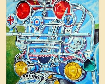 Lambretta art print, mod scooter painting,scooter art print of mod lambretta,perfect scooter gift.