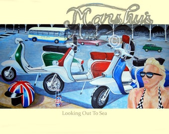 Lambretta scooter art print of scooters at Brighton,painting of scooters,lambretta art by marshys art,scooter gift.