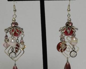 Silver and Raspberry Dangle Earrings