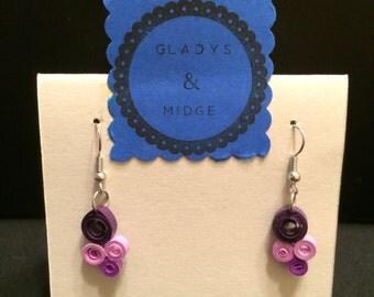 Quilled paper earrings in purple