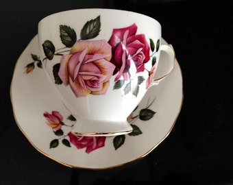 Vintage Royal Vale Teacup & Saucer With Roses - Free Shipping