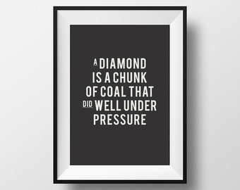 Diamond quote, Inspirational quote, motivational quote, quotes, instant download, digital art, printable art, diamond, motivational