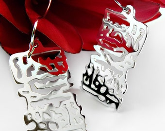 Silver Filigree Drop Earrings, Silver Dangle Earrings, Statement Earrings, Ocean Drop Earrings, Unique Gift for Her, Scroll  Silver Filigree