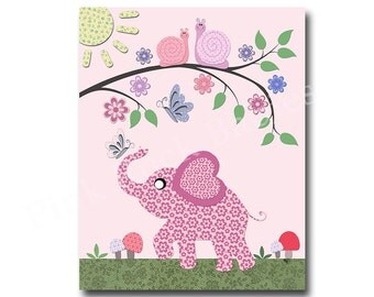 Elephant nursery elephant art, pink nursery wall art for baby girl room decor play room decor nursery artwork kids room decor children art