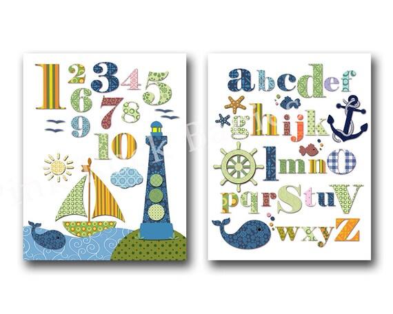 Ocean Wall Decor For Nursery : Nautical nursery wall decor ocean art baby shower gift
