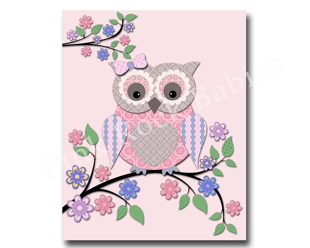 pink owl nursery art kids room wall decor play room decor. Black Bedroom Furniture Sets. Home Design Ideas
