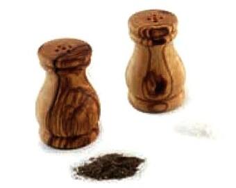 Salières et poivrières en bois d'olivier (2 pièces)