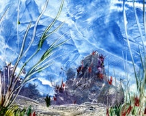 En-caustic art fantasy underwater scape, would make great backing paper for cards or as a picture.