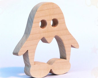 wooden teether penguin, baby toy, personalized wood toy, natural