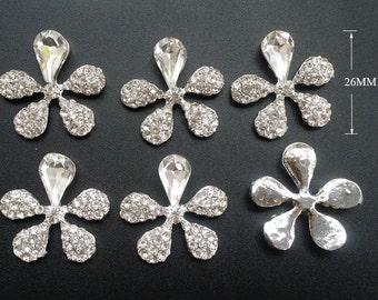 12 pcs  Flower Rhinestone Embellishment Rhinestone Button, Wedding supply, Hair Clip Brooch Bouquet Jewelry Supplies,Flatback button  B13