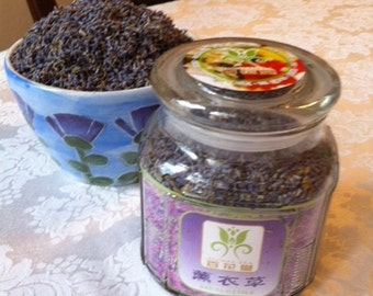 Organic Lavender For Tea In A Glass Jar