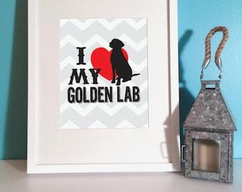 Children's Art - I Love My Golden Lab- Nursery Art - Archival Print