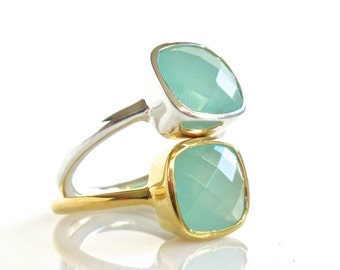 Aqua Chalcedony Ring - Gold Ring - Bezel Ring - Aqua Ring - Gemstone Ring - Stacking Ring