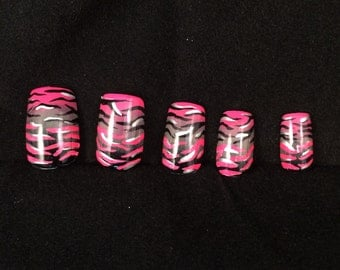 Neon Pink and Black Zebra Stripe Gradient False Nail Set