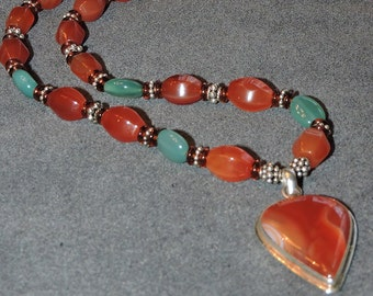 Carnelian Red Agate Necklace and Pendant with Sterling Silver
