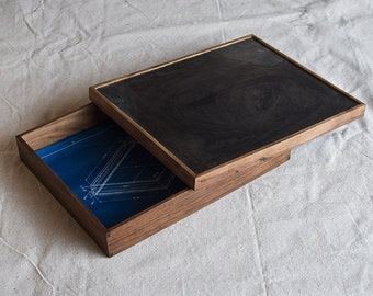 Walnut and Steel archival portfolio box for letter size photographs, drawings, and small objects.