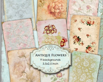 ANTIQUE FLOWERS - Digital collage sheet printable atc aceo size  instant download background vintage - ac110