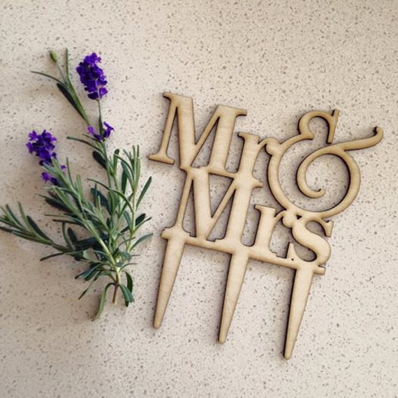 Mr & Mrs Wooden Cake Topper, Wedding Cake Topper (Australia) EXPRESS postage