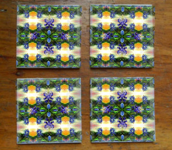 "Fine Art Fabric Ceramic Coaster ""Blue Bonnet Rapture"""""