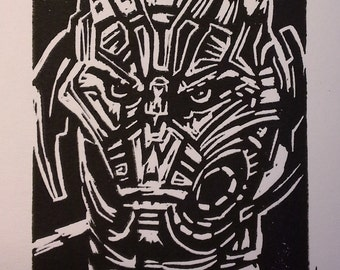 No Strings On Me (Ultron) Linocut Print