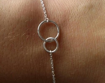 Bracelet two circles intertwined - 925 sterling silver