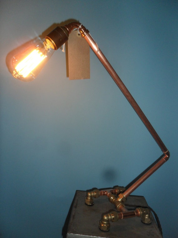 Copper Industrial Table Lamp In Its Raw Copper Form By