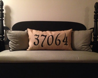 Burlap Zip Code Pillow- Multiple sizes/options available!