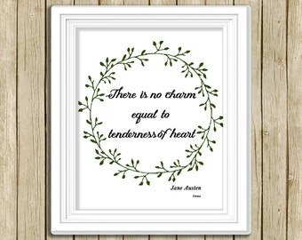 printable wall art Jane Austen quote There is no charm equal instant download 8 x 10 literary typography print book lover home decor