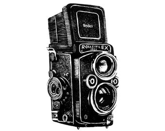Rolleiflex - ORIGINAL - Hand Pulled Lithography of a Photographic Film Camera in Black and White
