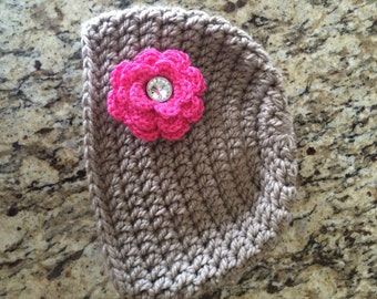 Taupe Women's Crochet Beanie with Rhinestone Centered Flower